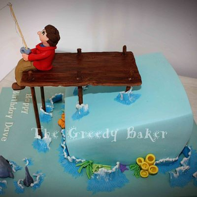 Topsy Turvy Single Tier Fishing Cake Gumpaste And Fondant Detailing I Found An Amazing Wave Tutorial Here On Cc By The Very Clever Carolyn... on Cake Central