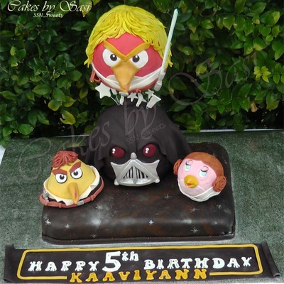 Stacked Star Wars Angry Birds Cake