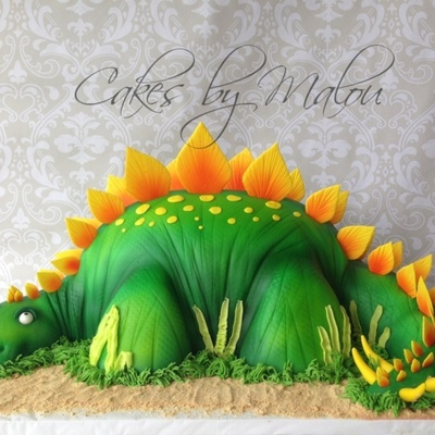 A Stegosaurus Birthday Cake Got The Idea From Montreal Confections Youtube Tutorial on Cake Central