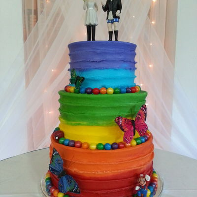Buttercream Icing Rainbow Cake For A Bride And Groom With Children The Butterflies Mario And Spiderman Represent Each Of The Children