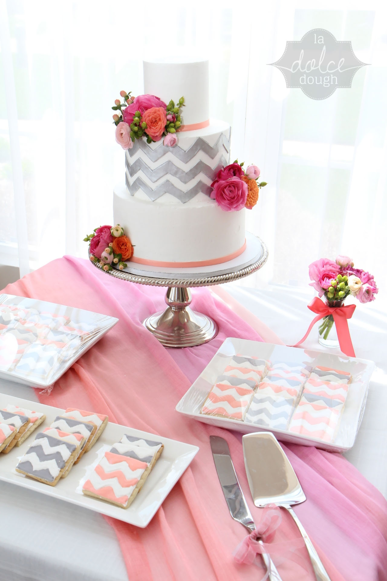 Coral Pink And Silver Chevron Bridal Shower Cake All Buttercream Except Ribbon And Chevron La Dolce Dough