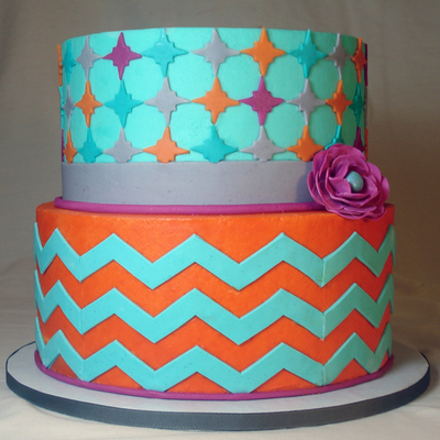 Teal And Orange Chevron