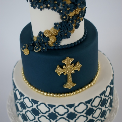 Baptism Cake For A Close Friends Son Covering The Navy Tier Was A Bit Of A Headache To Avoid Elephant Skin But In The End It Worked Out