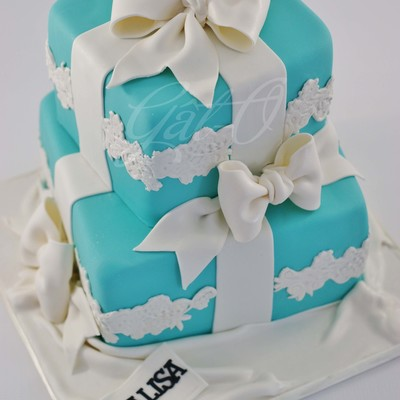 Tiffany Style Boxes For The Birthday Girl Wanted To Incorporate Lace Somehow Into The Design So Added Some Horizontal Stripes Of It Reall