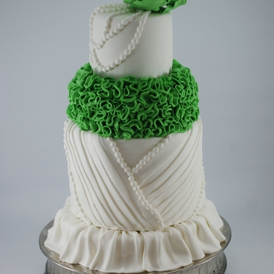 My Sisters Wedding Cake She Had An Apple Green Theme So I Decided To Add A Punch Of Color To The Cake Thanks For Looking