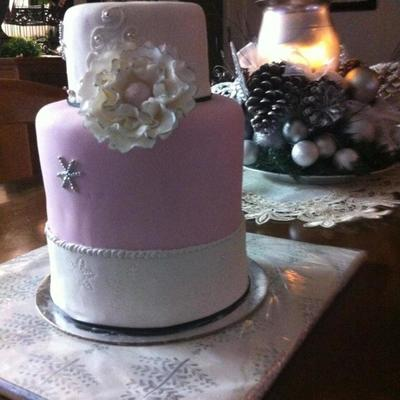 Pink And White Christmas Cake
