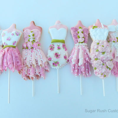 Princess Dress Cookie Pops Made With Royal Icing And Chocolate