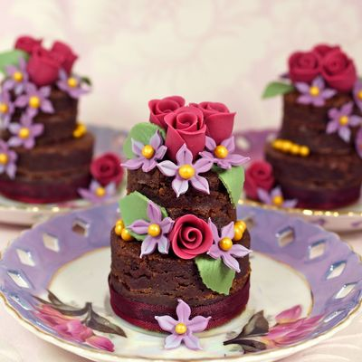 Tiered Chocolate Brownies Decorated With Sugar Flowers