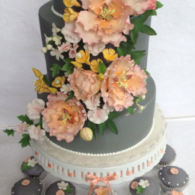 Wedding Cake And Matching Cupcakes With Sugar Flowers And Edible Lace on Cake Central