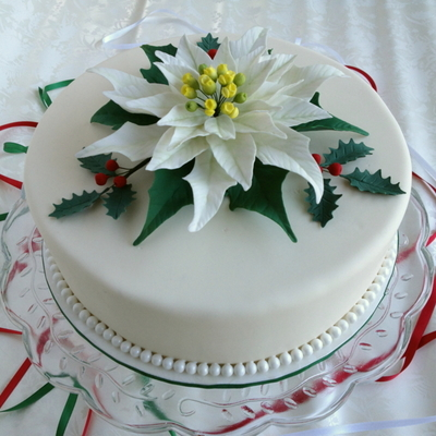 White Poinsettia Cake With Holly Leaves And Berries I Was Curious About What The Recipient Would Think Of My Rendition Of These Plants Thi...