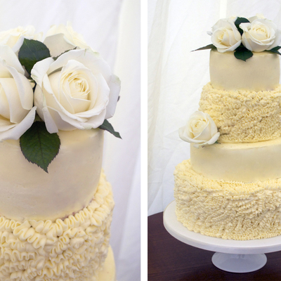 4 Tier Red Velvet Cake With Buttercream Ruffles And Fresh Roses