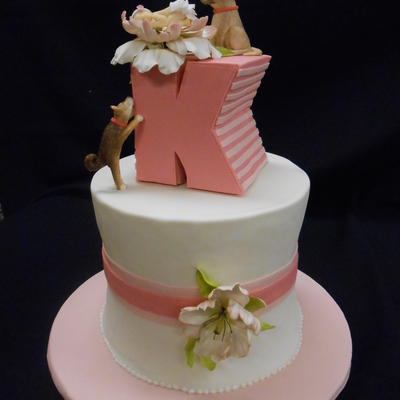 Pink And White Baby Shower Cake