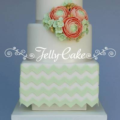 Mint Green Chevrons With Pale Peach Sugar Ranunculus With Green Hydrangeas And Berries This Was One Of The Cakes I Made For The Wedding Cak...