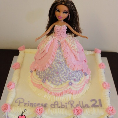 Princess Cake Made With Vanilla Sponge And Decorated With Vanilla Buttercream