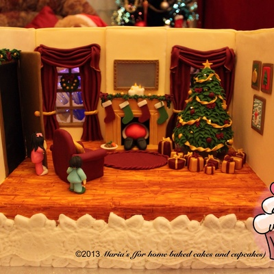 The Night Before Christmas Christmas Cake 2013 The Living Room Scene Is Sitting On A 10 X 14 Rich Fruit Cake