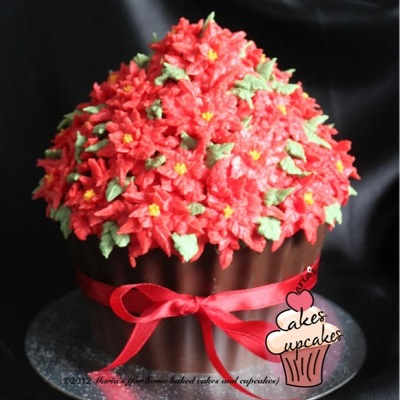 Giant Cupcake With Choc Base And Buttercream Poinsettias