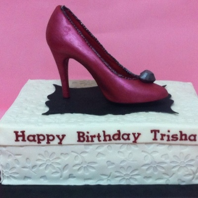 Shoe Box Cake With Chocolate High Heel Topper