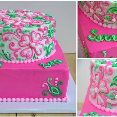 Lilly Pulitzer Inspired Grad Cake