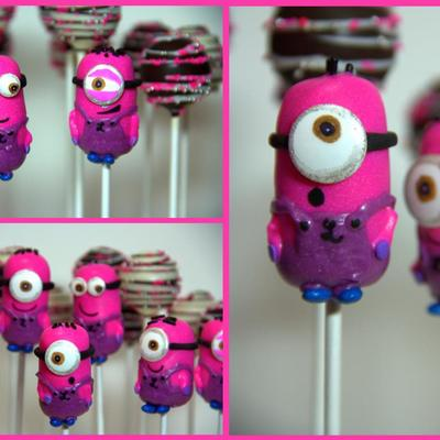 Minion Cake Pops In Hot Pink For An Interior Design Firm To Bundle And Hand Out To Clients This Halloween Based On The Tutorial By Bakerell...