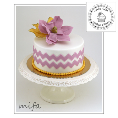 Chevron Cake With Fantasy Magnolia