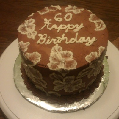 Chocolate Cake Filled With Chocolate Ganache And Iced In Buttercream Whipped With Chocolate Ganache I Had Never Tired Brush Embroidery Bef...