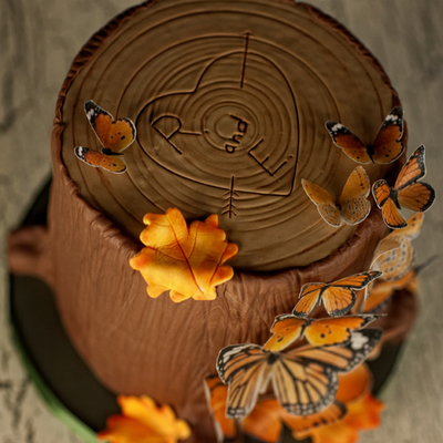 Autumn Tree Stump Wedding Cake