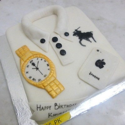 Hand Painted Logo With Hand Crafted Watch And Iphone Shirt Cake