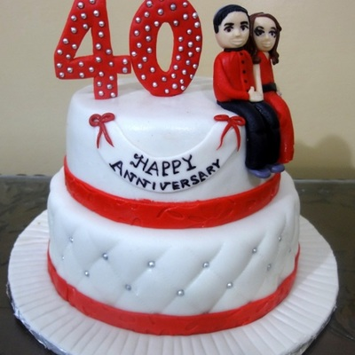 40Th Anniversary Themed Cake