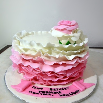 Pink Ombre Ruffled Cake