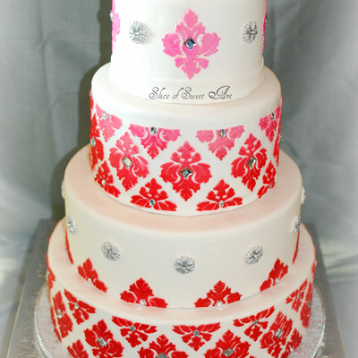 Ombre Damask Bling Bridal Shower Bridal Shower Cake With Ombred Damask Pattern From Red Base To Pink Toward The Top