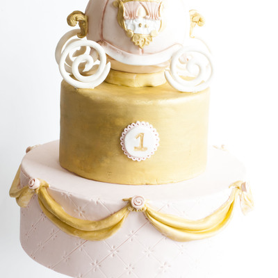 Princess Pink & Gold Carriage 1St Birthday Cake