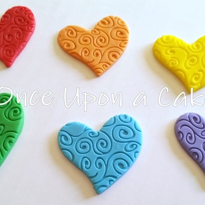 Fondant Swirly Heart Toppers