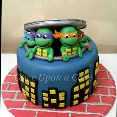 8 Round Chocolate Cake With Teenage Mutant Ninja Turtles