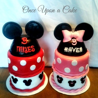 Twin Mickey & Minnie Mouse Cakes
