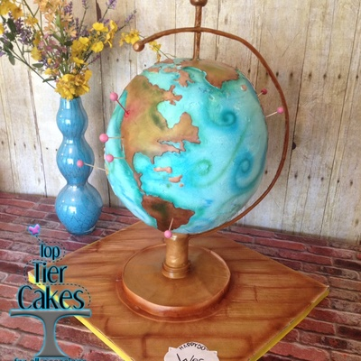 Globe Cake For 50Th Birthday Made By Amber Adamson Of Top Tier Cakes For All Occasions In Wenatche Wa