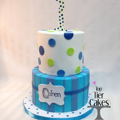 One Year Old Party Cake Polka Dots Stripes Blue Green Navy Blue