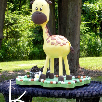 3D Sculpted Giraffe 1St Birthday Cake