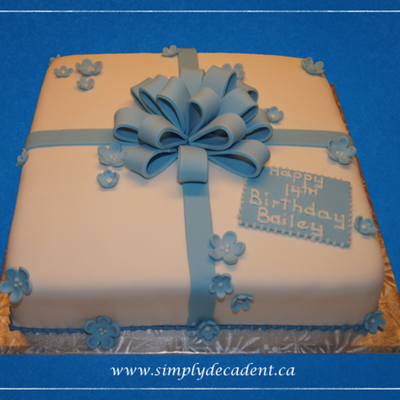 Fondant Gift Box Birthday Cake With Blue Fondant Bow Amp Flowers on Cake Central