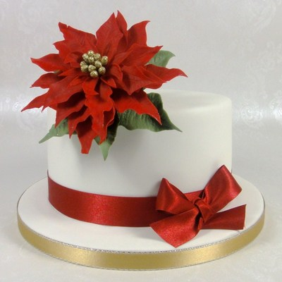 Poinsettia Christmas Cake on Cake Central