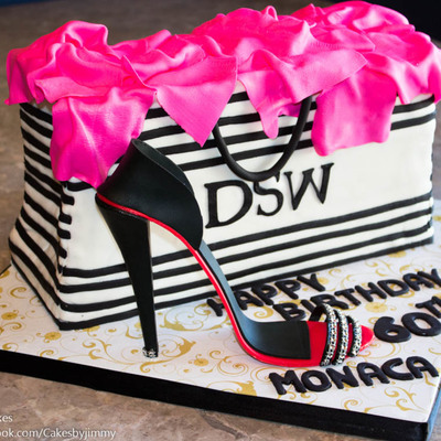 60Th Birthday Cake/dsw Shopping Bag With Gum-Paste High Heel Shoe