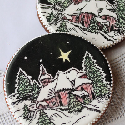 Christmas Woodcut Cookie By Julia M. Usher