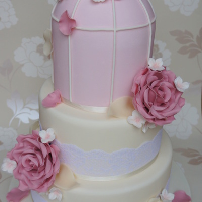 Ivory & Pink Rose Birdcage Wedding Cake