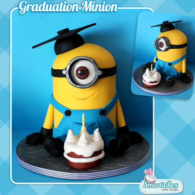 2 In 1 Graduation And Birthday Minion Cake