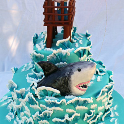 My 330 Am Cake I Was Up Very Late Last Night All Edible Except The Wire And Fishing Pole The Shark Is Rkt Covered In Fondant And Hand Pa