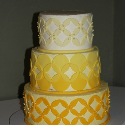 Yellow Ombre Buttercream With Yellow Ombre Fondant Accents
