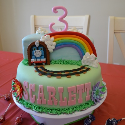 Thomas Cake Thomas Is A Candle Fondant Rainbow Flowers Name Track 5050 Number Piped Buttercream Clouds Grass Shrubs