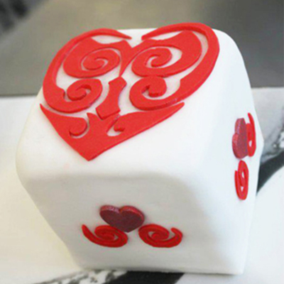 Mini Square Fruit Cake For Valentines Day Everything On The Cake Is Made Freehand No Cutters Used Httpswwwfacebookcomsweetlybaked