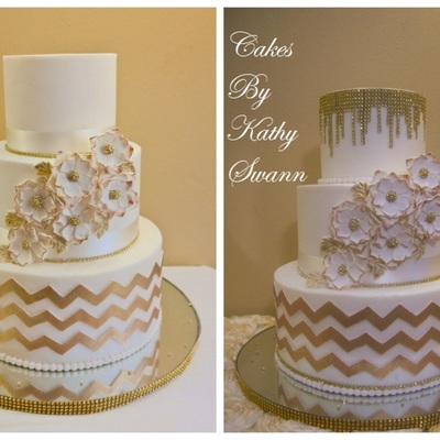 Butter Cream Covered With Fondant Accents Chevron Design