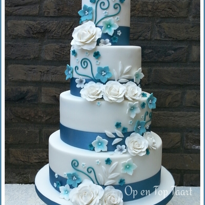 Turquoise Ribbons, White Roses