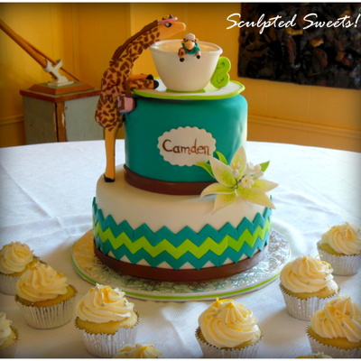 Chevron Giraffe Baby Boy Shower